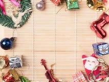 vista superior de la decoración hermosa de la Navidad, compositio de la Navidad Foto de archivo