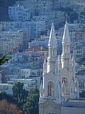 Vista superior de la iglesia de San Pedro y de Paul en San Francisco Foto de archivo libre de regalías