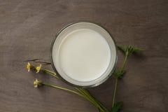 Vista superior de la leche fresca en un vidrio con la flor de la hierba en fondo de madera Imagenes de archivo