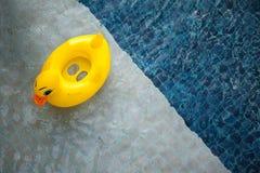 Vista superior de la piscina con el juguete amarillo del pato que flota - relajación y Imagen de archivo
