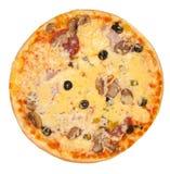 Vista superior de la pizza aislada Foto de archivo libre de regalías