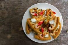 Vista superior de la pizza de los mariscos Imágenes de archivo libres de regalías