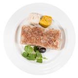 Vista superior de la porción de áspide de la carne en la placa blanca fotografía de archivo libre de regalías