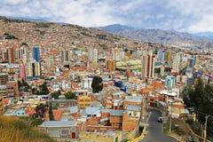 Vista superior de Lapaz, Bolivia Imagenes de archivo