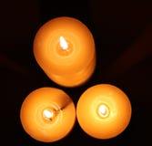 Vista superior de las velas del Lit Foto de archivo libre de regalías