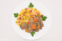 Vista superior de legumes misturados havaianos cozinhados com fígado de galinha Imagens de Stock Royalty Free