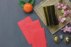 Vista superior de los artículos para el fondo chino del concepto de la Feliz Año Nuevo Foto de archivo libre de regalías