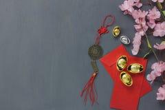 Vista superior de los artículos para el fondo chino del concepto de la Feliz Año Nuevo Imagen de archivo