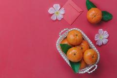 Vista superior de los artículos para el fondo chino y lunar de la Feliz Año Nuevo Foto de archivo
