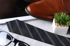 Vista superior de los objetos y de los accesorios del hombre de negocios Fotografía de archivo