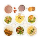 Vista superior de muitas placas com alimento Imagens de Stock Royalty Free