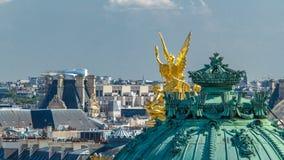 Vista superior de Palais o ópera Garnier The National Academy del timelapse de la música en París, Francia almacen de video