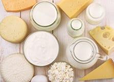 Vista superior de productos lácteos frescos Imágenes de archivo libres de regalías