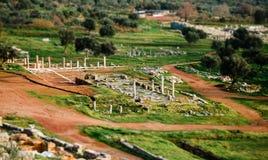 Vista superior de ruínas antigas em Messina, Grécia Imagens de Stock Royalty Free