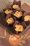 Vista superior de seis cozido recentemente, queques caseiros do streusel do coco da abóbora Fotos de Stock Royalty Free