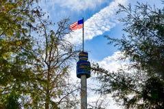 Vista superior de Sky Tower, da bandeira dos EUA e das árvores em Seaworld na área internacional da movimentação imagem de stock