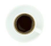 Vista superior de um copo de café, isolado no fundo branco Imagens de Stock