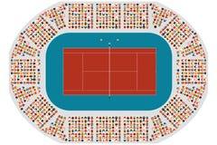 Vista superior de uma arena do tênis ilustração do vetor