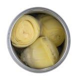 Vista superior de uma lata aberta dos corações de alcachofra Fotos de Stock Royalty Free