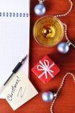 Vista superior de un lugar de trabajo del Año Nuevo Imagen de archivo libre de regalías