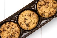 Vista superior de un paquete de galletas del chocolate Imágenes de archivo libres de regalías