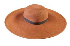 Vista superior de un sombrero de paja redondo en un fondo blanco fotografía de archivo