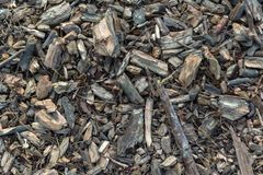 Vista superior de una mezcla de pedazos de madera fotos de archivo