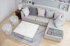 Vista superior de una sala de estar Fotografía de archivo