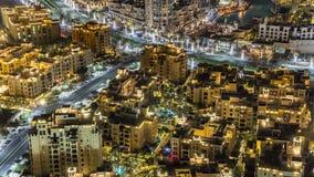 Vista superior del área central del timelapse Dubai de la ciudad céntrico metrajes