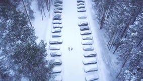 Vista superior del aparcamiento del invierno en clip del bosque Aparcamiento nevado con la gente que camina en el centro del cami almacen de metraje de vídeo