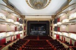 Vista superior del auditorio y de la etapa en el teatro de Vakhtangov Imagen de archivo