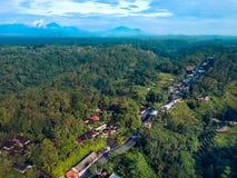 Vista superior del camino que pasa a través de los campos del pueblo y del arroz foto de archivo libre de regalías