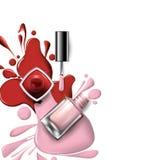 Vista superior del esmalte de uñas rosado, de la lila en los cosméticos blancos del fondo y del vector del fondo de la moda Imagen de archivo libre de regalías