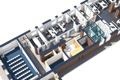 Vista superior del espacio de oficina Imagen de archivo