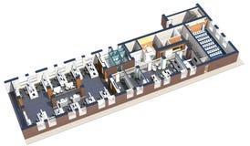 Vista superior del espacio de oficina Foto de archivo