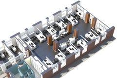 Vista superior del espacio de oficina Fotos de archivo
