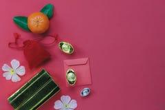 Vista superior del fondo chino del concepto del Año Nuevo de las decoraciones Imagen de archivo