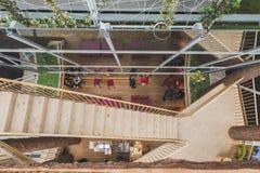 Vista superior del pabellón del sur del Tyrol en la expo 2105 en Milán, Italia Imagen de archivo libre de regalías
