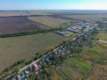 Vista superior del pequeño pueblo Foto de archivo libre de regalías