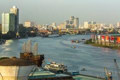 Vista superior del río de Saigon Foto de archivo