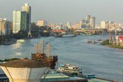 Vista superior del río de Saigon Fotos de archivo