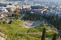 Vista superior del teatro de Delphi en la acrópolis de Atenas Fotografía de archivo libre de regalías