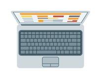 Vista superior del teclado moderno del ordenador portátil de la retina en el vector blanco de la comunicación de la tecnología de Fotos de archivo libres de regalías