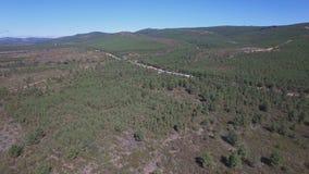 Vista superior del tren y del ferrocarril curvado en el país, almacen de metraje de vídeo