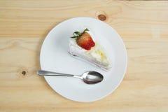Vista superior do bolo da morango Imagens de Stock