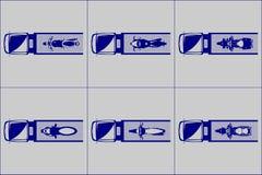 A vista superior do caminhão de reboque carregou com o tipo diferente das motocicletas ilustração stock