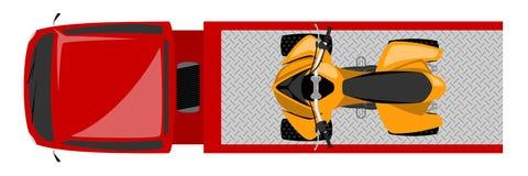 Vista superior do caminhão de reboque com ilustração de cor da bicicleta do quadrilátero ilustração royalty free