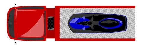 Vista superior do caminhão de reboque com jetski ilustração stock
