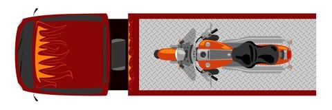A vista superior do caminhão de reboque com motocicleta do interruptor inversor isolou a cor ilustração do vetor