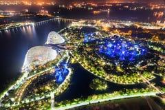 Vista superior do jardim fantástico por Marina Bay em Singapura foto de stock